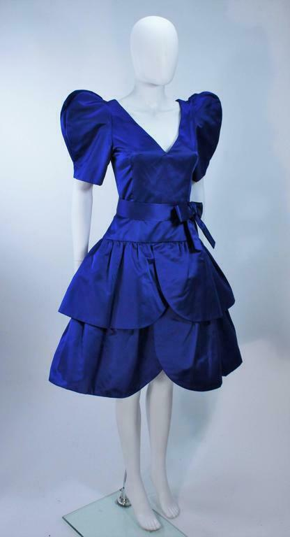 ARNOLD SCAASI Blue Satin Cocktail Dress with Bow … - image 6