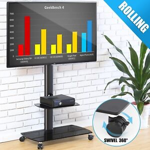 Rolling Tv Stand With Swivel Mount Metal Glass For Flat Screen 32 65