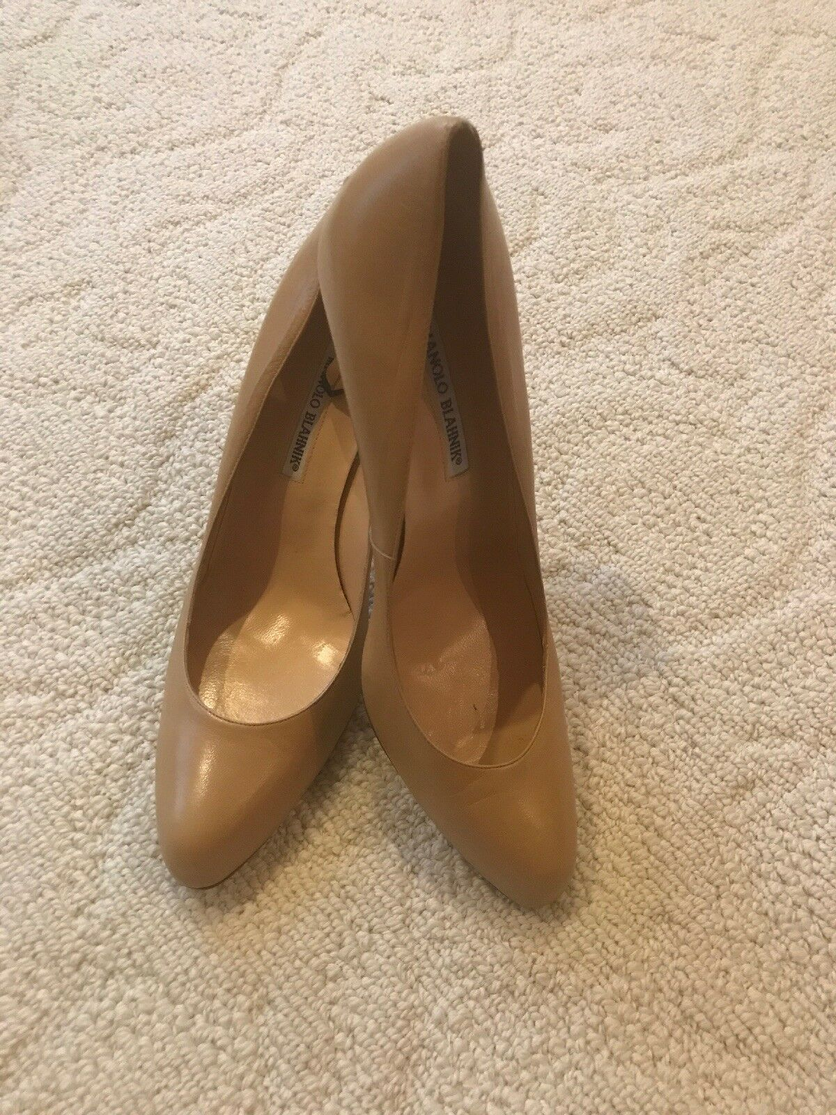 Manolo Blahnik Nude Leather New High Heels Pointy schuhe Pumps 41.5 New Leather  625 a0bbb8