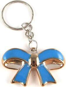Cute-Turquoise-BLUE-Goldtone-Plastic-BOW-Keyring-Bag-Charm