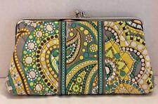 VERA BRADLEY Lemon Parfait Retired Double Kiss Lock Coin Purse Clutch Wallet