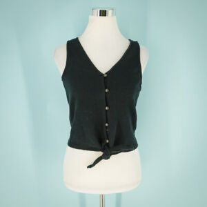 Madewell Size Small S Top Texture Thread Tie Tank Button Front V-neck Black