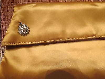 True Vintage Satin Purse Clutch Hand Bag Evening Rhinestone Snowflake Accent