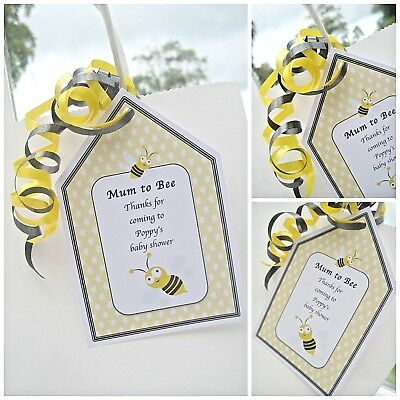 5 X PERSONALISED BABY SHOWER PARTY GIFT BAGS