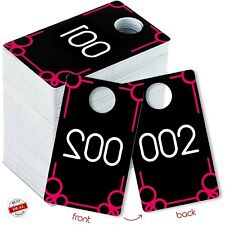 Plastic Tags 001 500 Number Series Pink Normal And Reversed For Online Live Sale