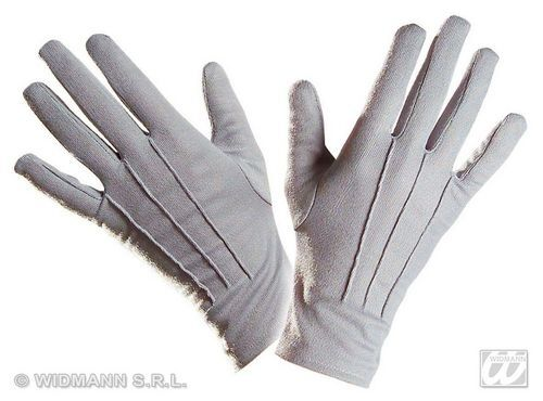 Pair Of Adult Short Grey Gloves Fancy Dress Costume Accessory