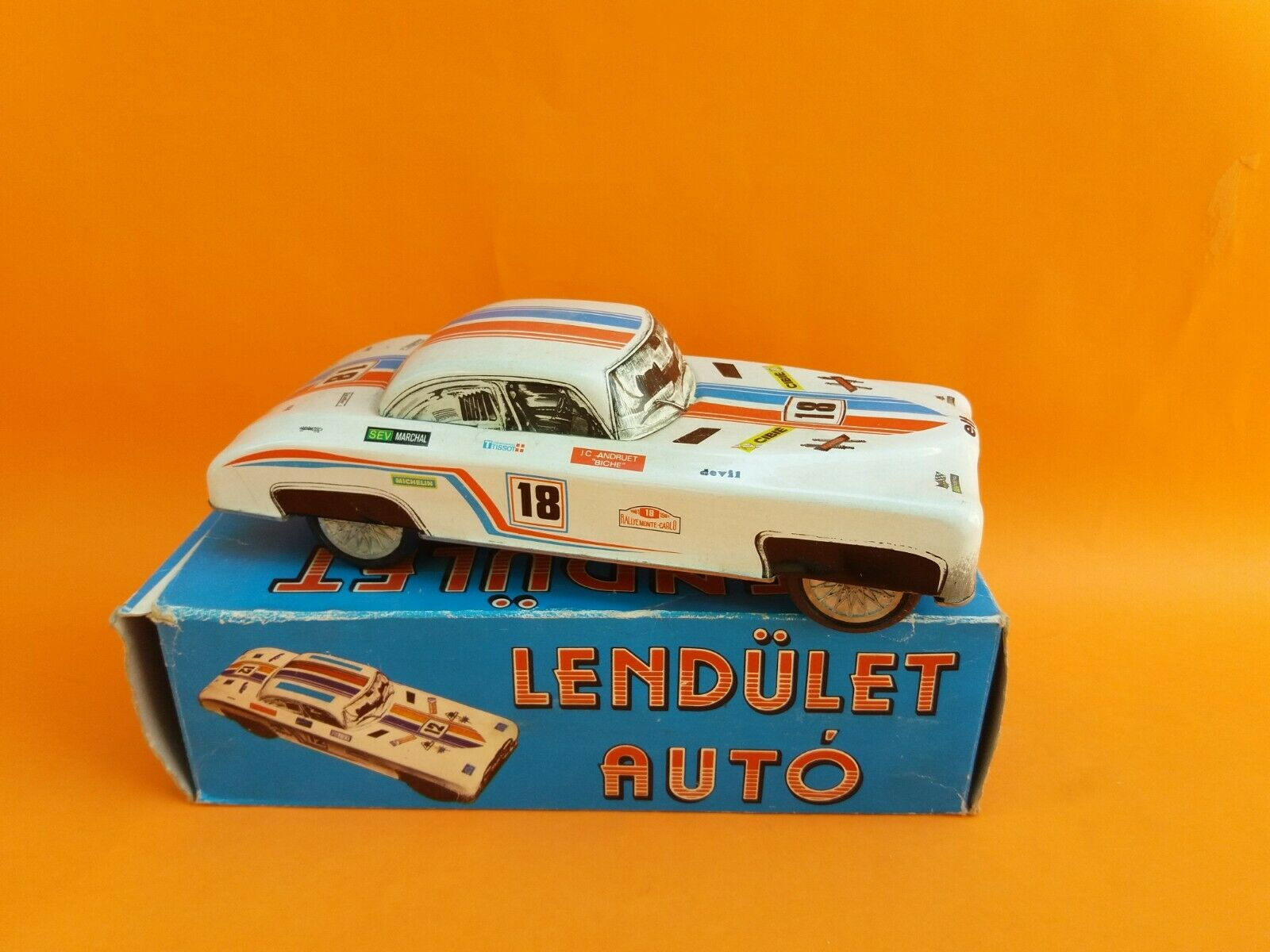 Jahr OLD RARE FRICTION HUNGARY TIN Spielzeug CAR LENDULET AUTO + BOX