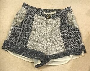 Boutique-Womens-Shorts-Sz-Size-S-M-Blue-Off-White-Patterned-Elastic-Waist-Lined