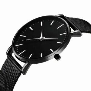 Men-Trendy-Ultra-Thin-Minimalist-Watch-Slim-Mesh-Strap-Stainless-Steel-Quartz