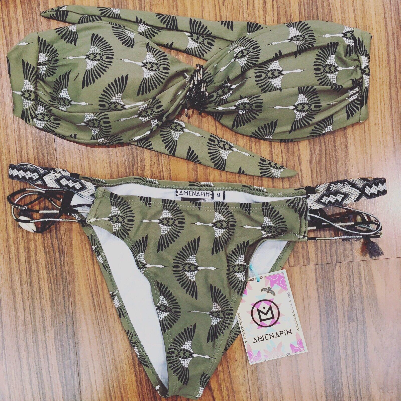 Bikini Pavoni Verdone Costume Fascia Mare Beachwear Amenapih By Hipanema Tg.Smal