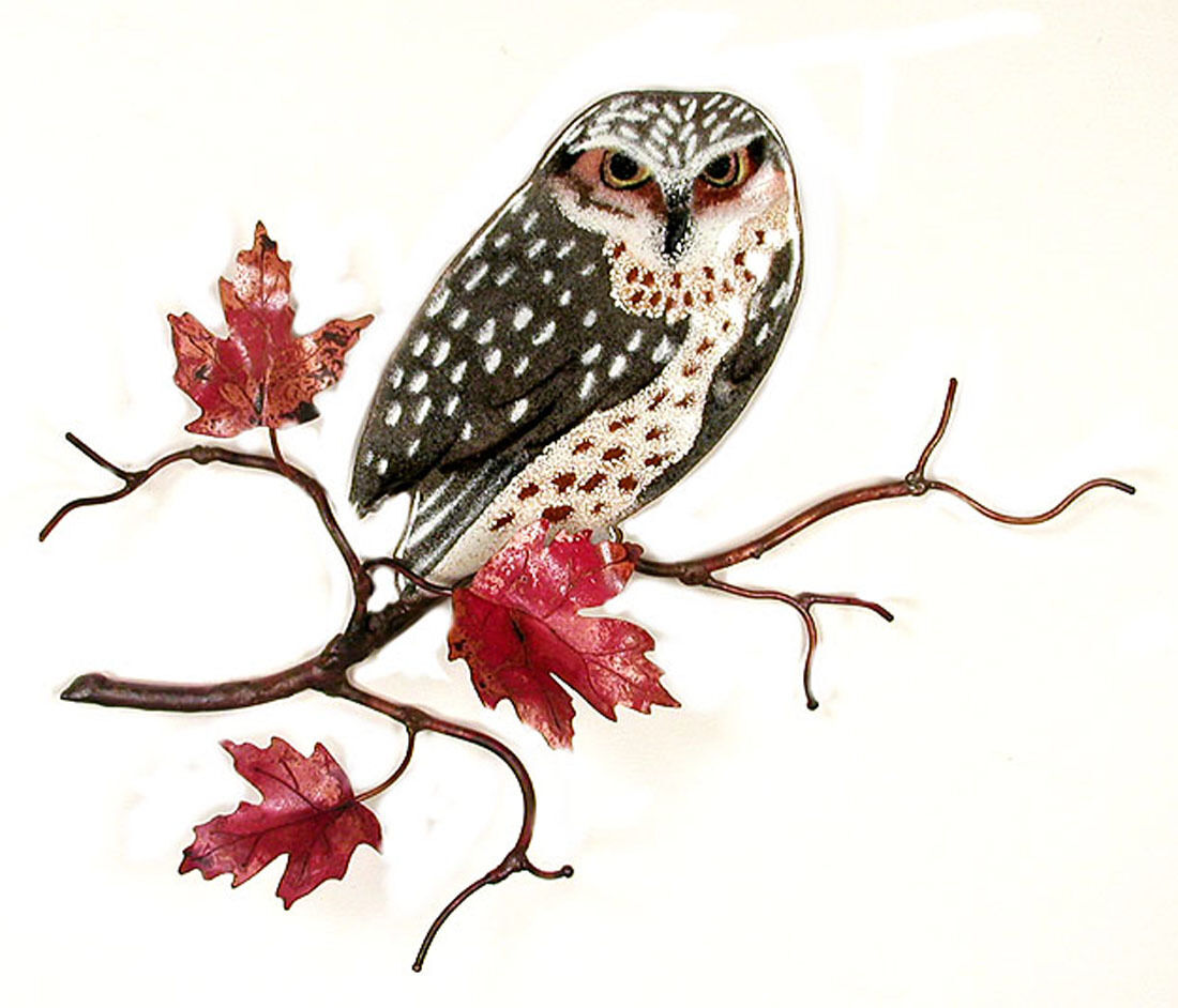 Birds animals collectibles wall art owl in maple tree metal wall sculpture wall decor amipublicfo Gallery