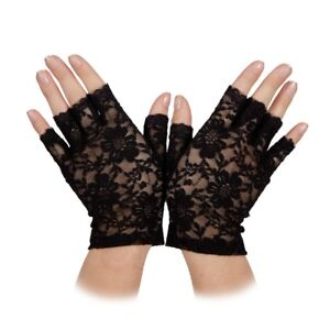Fingerless Lace Gloves Adult Back To 80s Madonna Halloween Fancy Dress Accessory