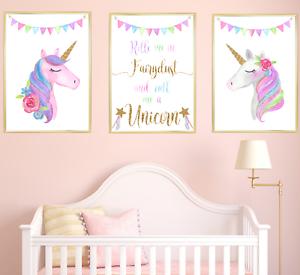 Children gift Unicorn Nursery Prints Set of 3 Baby Girl Bedroom Art Pictures