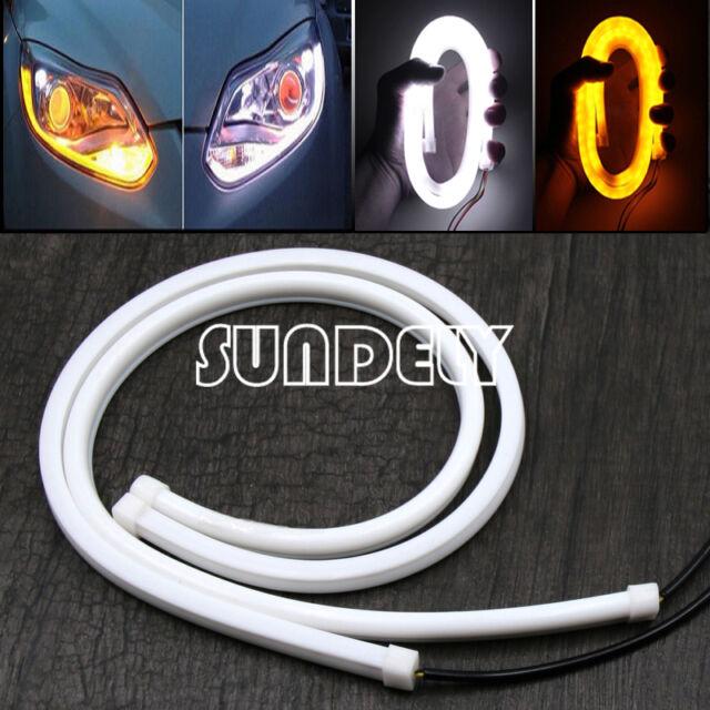 12V Dual Color 2x 60cm DRL LED Strip White Amber Tube Switchback Headlight Light