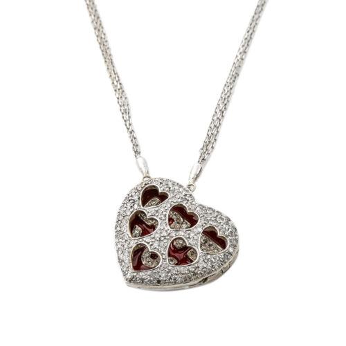 14K White Gold 1.55 Ct Diamond Heart Love Locket P