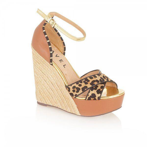 Ladies Wedge Sandals Ravel Lassie Tan Leopard UK Sizes 6 - 8