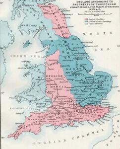 Antico-Mappa-dell-039-Inghilterra-TRATTATO-DI-Chippenham-Wessex-Mercia-1903