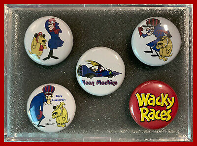 Dick Dastardly /& Muttley Wacky Races  Set of Five 1 inch Round 3M Rubber Magnets