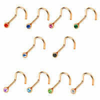 Nose Screw Ring Rose Gold Anodized Over Surgical Steel 18g/20g