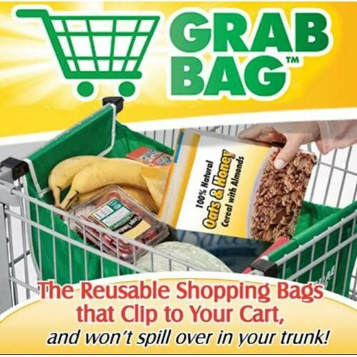 Pliable Eco-Friendly Forte Sacs Shopping CLIP-pour-Cart Grab Sacs Lot de 2