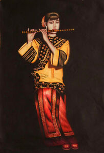 Art-Oil-painting-Chinese-beautiful-young-girl-playing-flute-on-canvas-24-034-x36-034
