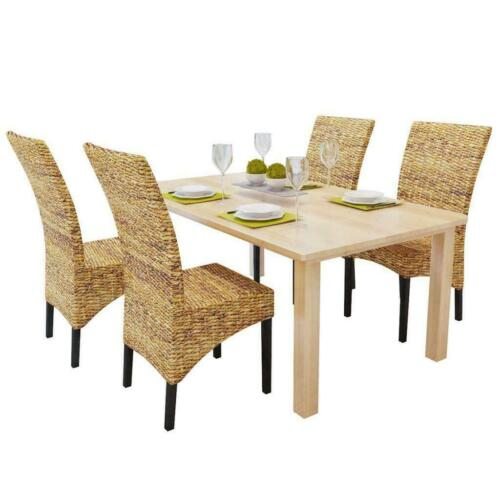 Rattan Dining Chairs 4 Pcs Handmade Woven Furniture Natural Abaca Wooden Brown