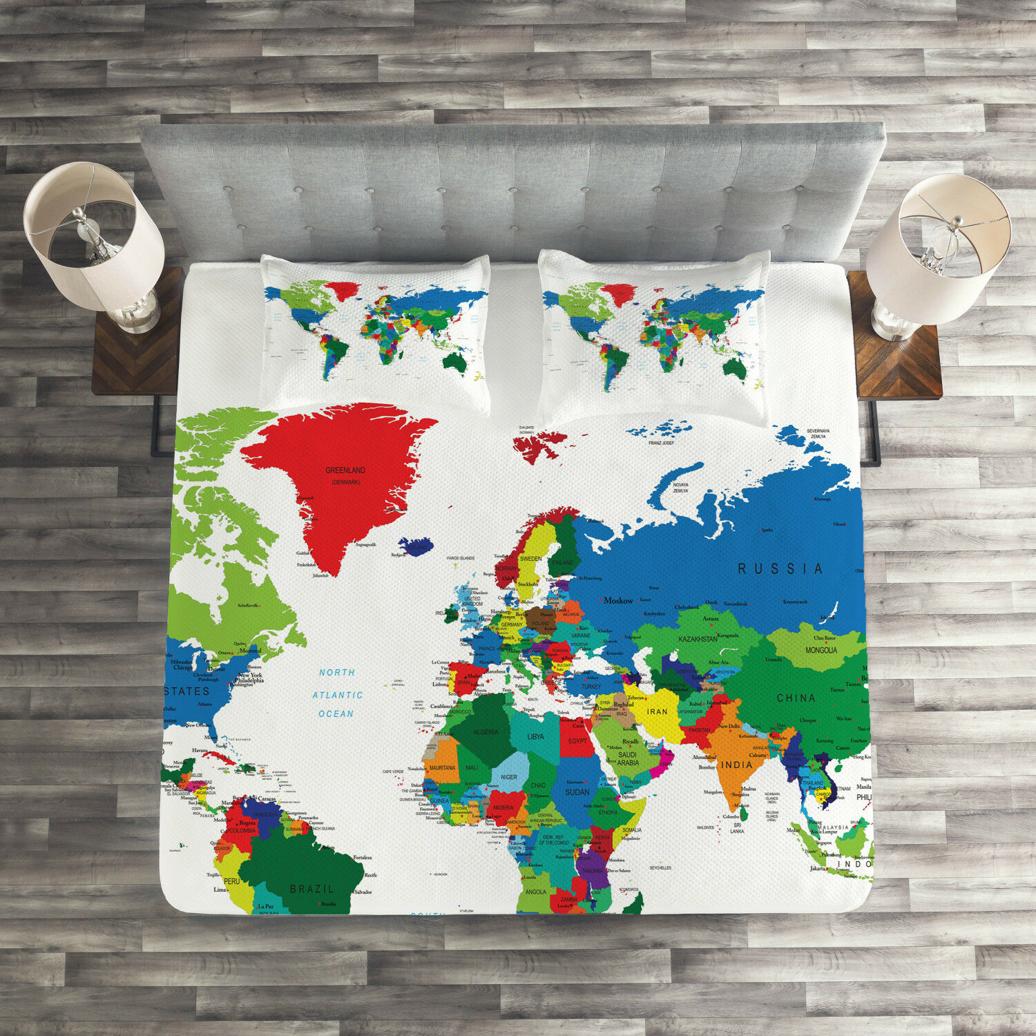 World Map Quilted Coverlet & Pillow Shams Set, colorful Political Print
