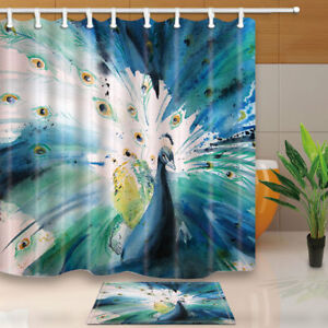 Image Is Loading Watercolor Wild Blue Peacock Shower Curtain Water Resistant