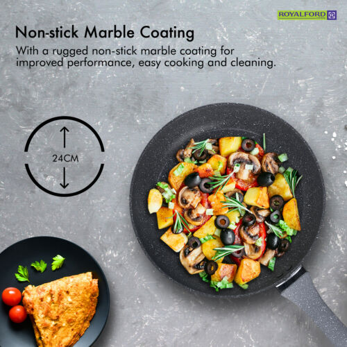 Royalford Frying Pan Non Stick Granite Marble Coated Gas Electric Induction Hob
