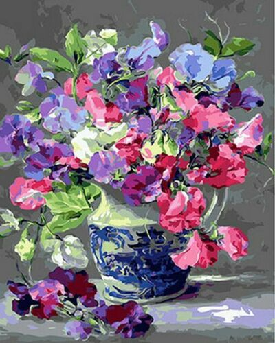 Sweet Peas Paint By Numbers Kits DIY Number Canvas Hand Painting Oil Painted Jar