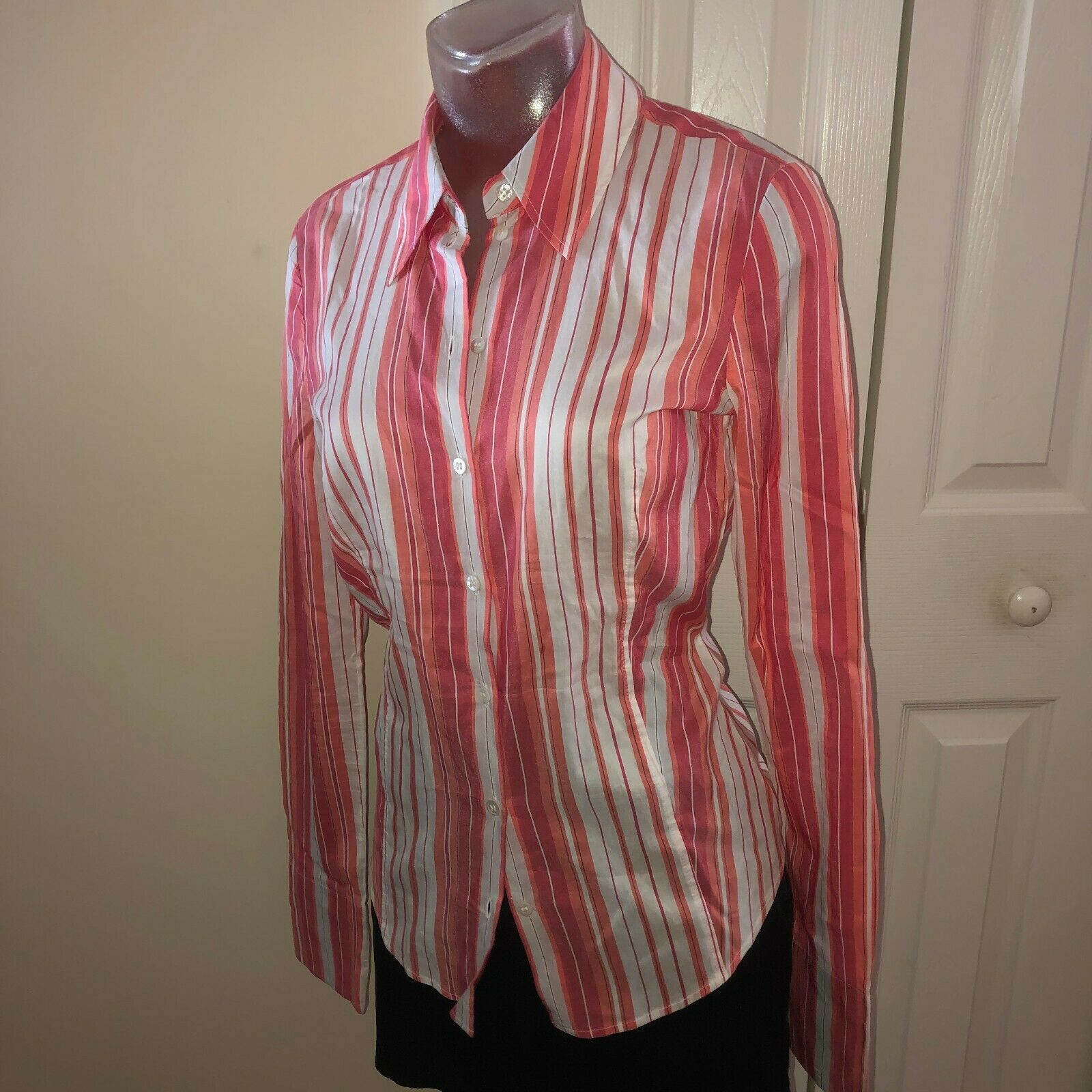 HUGO BOSS $195 Stripe Fitted Shirt Button Down Bl… - image 2