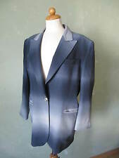 RENZO Blazer Jacke lang grau blau weiss extravagant 100% Seide Größe 40 L   (D2)