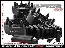 "Complete Ford F-150 Black 2"" Hub Centric Wheel Spacers 6x135 +24 Spline Lug Nuts"