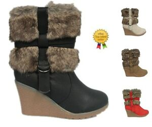 NEW-LADIES-WEDGE-HEEL-BUCKLE-FUR-LINING-LINED-WINTER-ANKLE-BOOTS-SIZE-3-8