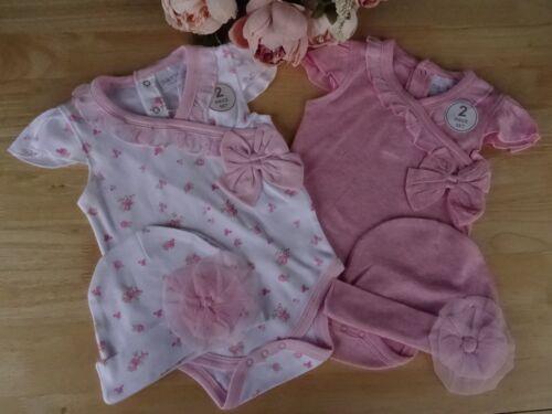 Baby Girl White Pink Flower 2 Pcs Bow Frill Bodysuit /& Rosette Hat Set 3-6-9-12m