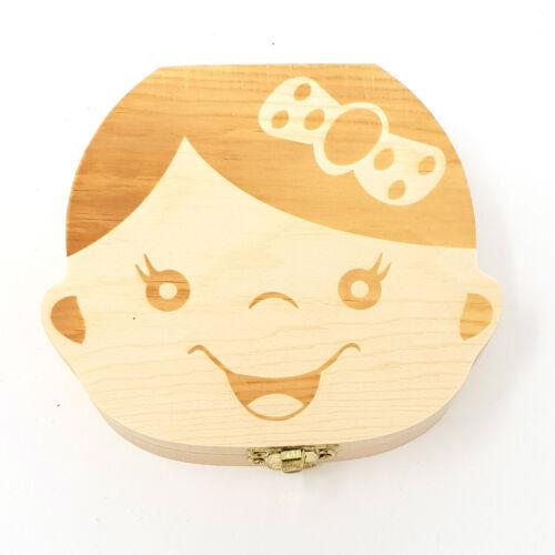 Childs Baby First Tooth Keepsake Wooden Storage Box For Kids Boy Girl Milk Teeth