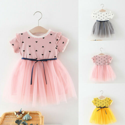 Toddler Baby Girl Ruched Patchwork Heart Tulle Skirt Party Princess Dress Outfit