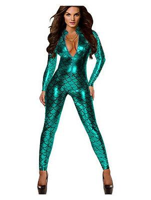 Ladies Metallic Fish Scales Pattern Jumpsuit Catsuit Playsuit Bodysuit Club Wear