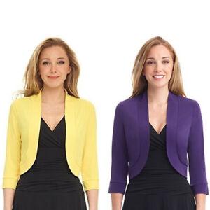 Fashion-Women-3-4-Sleeve-Open-Front-Cropped-Shrug-Bolero-Top-Cardigan-Jacket-NEW