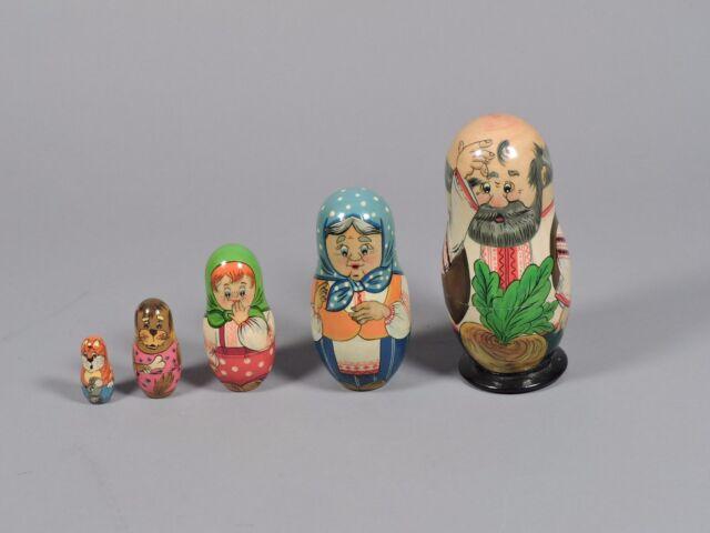 Vintage Russian Matryoshka Wooden Nesting Dolls, 5 Dolls, made in Russia