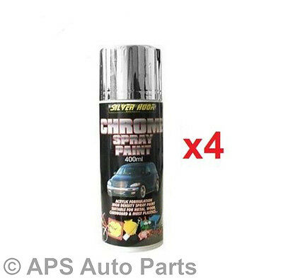 4x 400ml Silver Hook Chemicals Presents Chrome Spray Paint Acrylic High Density
