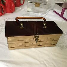 VTG DORSET-REX 5TH AVE BAG PURSE LUCITE BAKELITE TOP & HDL W BRASS BASKET WEAVE