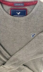 American-Eagle-Outfitters-Mens-Size-L-Thermal-Gray-LSleeve-Shirt-Vintage-Fit