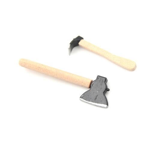 Dollhouse Miniature 1:12 Toy 3 Pieces Of Tools Axe Hammer Length 6.7cm CYN