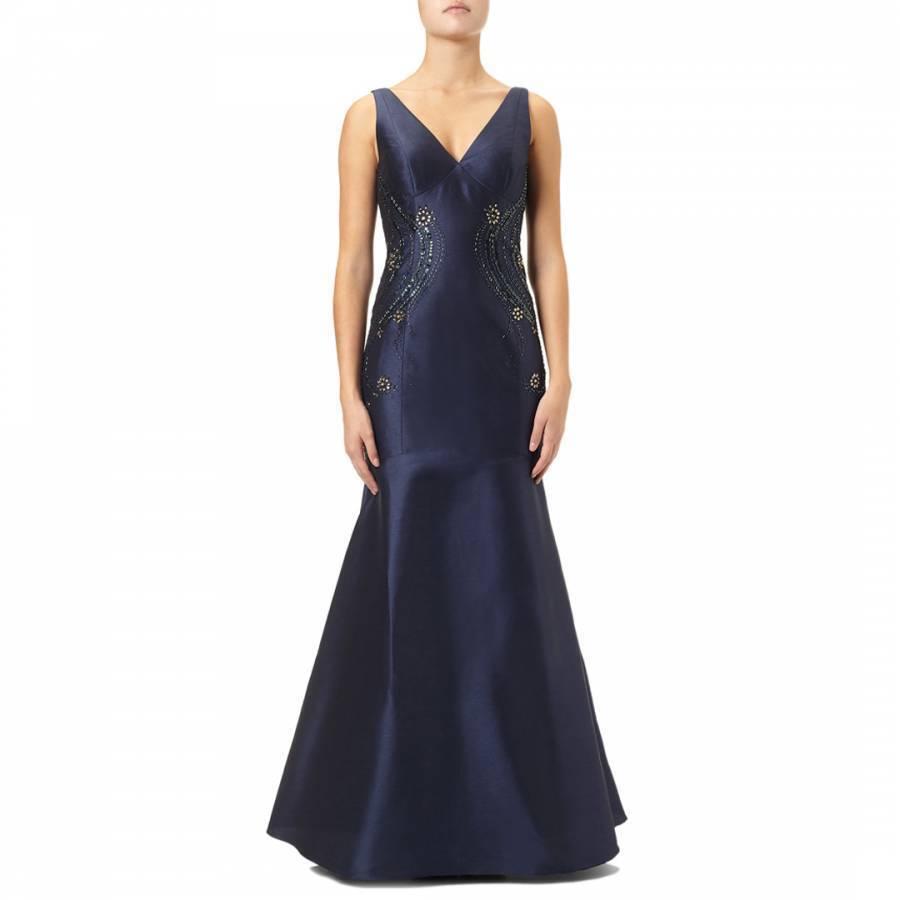 NEWADRIANNA PAPELL MIDNIGHT blueE EVENING DRESS SIZE 8 RRP  - BNWT
