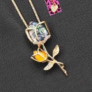 Betsey-Johnson-Resin-Crystal-Tulip-Flower-Pendant-Women-039-s-Necklace-Brooch-Pin