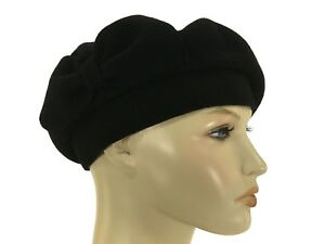 d1e40d97258 Laulhere 100% Wool French Beret Hat Coco Black with Bow Made In ...