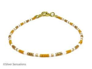 Green and Gold Seed Bead Anklet #12 White