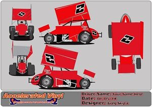 Details about 2 Color Mini Sprint Car Vinyl Decal Numbers Graphics Lettering