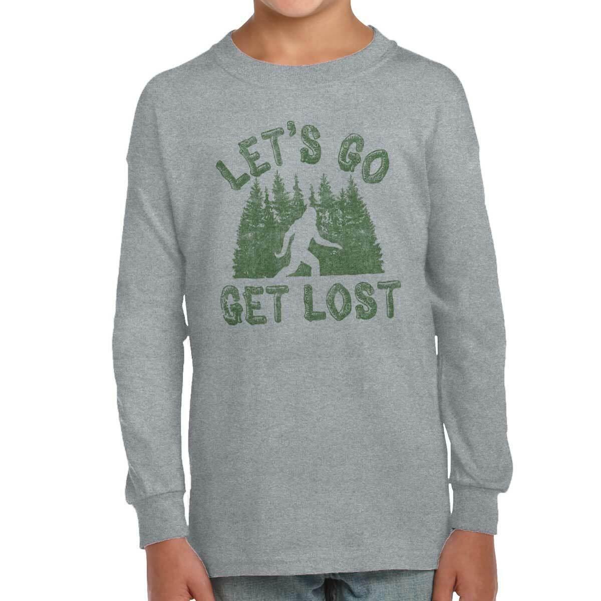 Lets Get Lost Bigfoot Urban Legend Sasquatch Youth Long Sleeve T Shirts Tshirts
